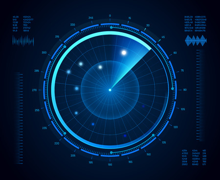 Illustration for Futuristic radar. Military navigate sonar, army target monitoring screen and radar vision interface map or navy submarine satellite display interface. Aircraft compass vector isolated concept - Royalty Free Image