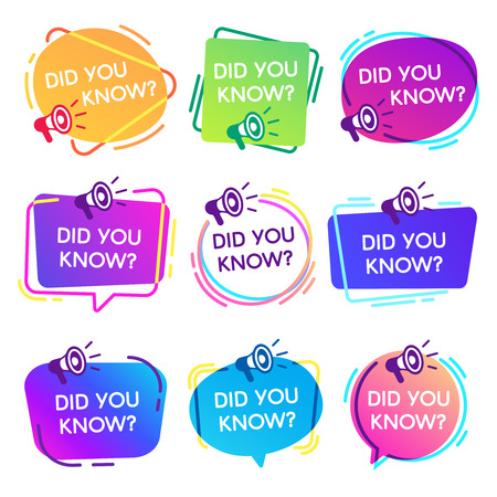 Ilustración de Did you know labels. Interesting facts speech bubbles, knowledge base label and social media faq banner. Knows fact news or thinking quiz isolated vector badges isolated icons set - Imagen libre de derechos
