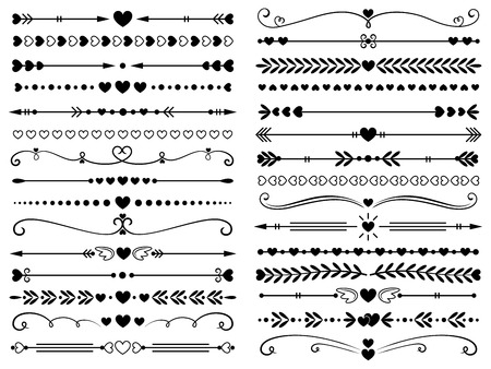 Illustration for Hearts border divider. Love vintage decorative line separator, heart arrows and dotted separating lines or geometric curved frame borders. Elegant ornate heart page divider isolated vector symbols set - Royalty Free Image