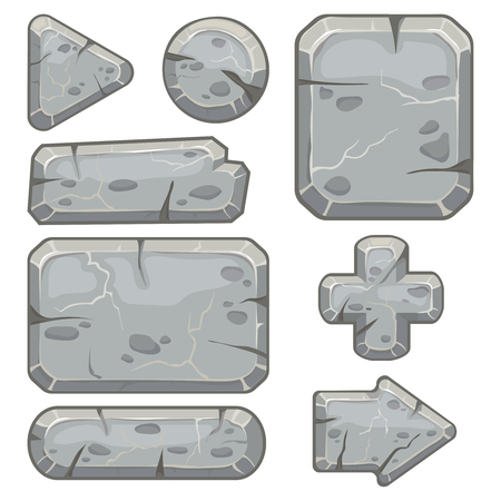 Illustration pour Stone frame. Rubble rocks banner, stones block arrows and gravel rock tablet frames for indie game app. Cartoon stone isolated vector icons set - image libre de droit