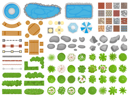 Illustration pour Top view park items. Garden walkway, outdoor relaxing parks furniture and gardens trees aerial. Pool, table and chair or garden relax architectural isolated vector illustration icons set - image libre de droit