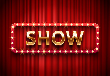 Illustration pour Theater show label. Festive stage lights shows, golden text on red curtains. Movie showing premiere, theater showtime red billboard vector background illustration - image libre de droit
