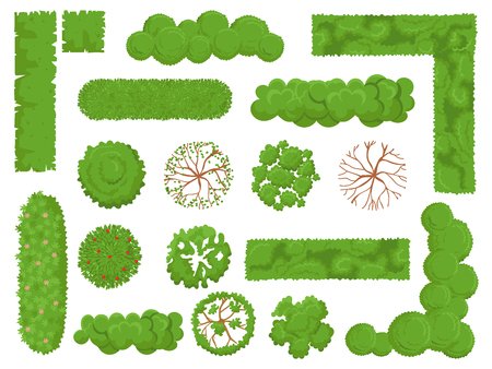 Illustration pour Top view trees and bushes. Forest tree, green park bush and plant map elements look from above isolated vector set - image libre de droit