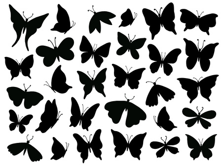 Illustration pour Papillon silhouette. Mariposa butterfly wing, moth wings silhouettes and spring flower butterflies. Fluttering monarch insect or papillon isolated vector illustration icons set - image libre de droit