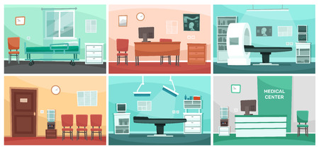 Illustration pour Cartoon hospital room. Medical interiors, doctor office and surgery clinic or hospitals empty waiting room interior. Patient hospitalization reception, clinical consultation rooms vector illustration - image libre de droit