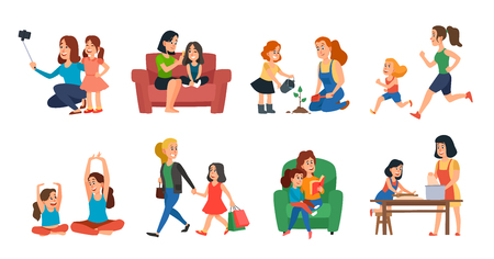 Illustration for Motherhood concept. Mother and daughter family help, playing or hugging. Mothers day, parent with children talking plant reading and running. Cartoon vector isolated icons illustration set - Royalty Free Image