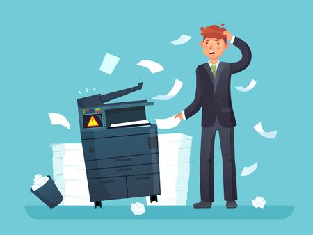 Printer broken. Confused business worker broke copier, office copy machine and lot of paper documents. Broken error equipment and unhappy man cartoon vector illustration