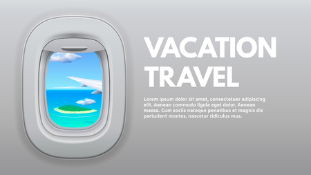 Illustration for Airplane porthole view. Travel aircraft wing in window, traveler air plane and vacation traveling. Jet sky side, airplane journey or aircraft cabin view booklet concept vector illustration - Royalty Free Image