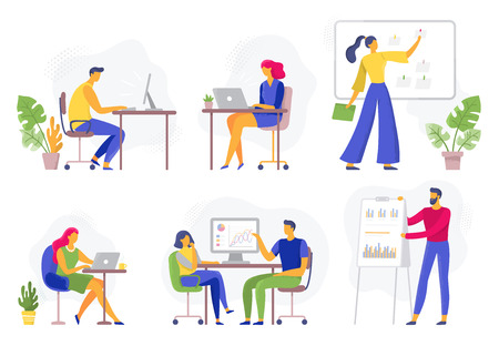 Illustration pour Office workflow. Working business people, remote teamwork and workers team collaboration. Enthusiastic team discussion, illustrator creative startup. Flat vector illustration isolated icons set - image libre de droit