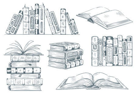 Illustration for Books engraving. Vintage open book engrave sketch drawn. Hand drawing student reading textbook vector illustration - Royalty Free Image