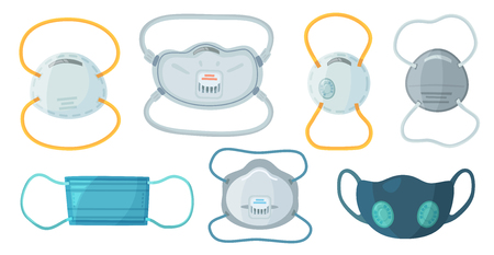 Illustration pour Safety breathing masks. Industrial safety N95 mask, dust protection respirator and breathing medical respiratory mask. Hospital or pollution protect face masking. Cartoon vector isolated symbols set - image libre de droit