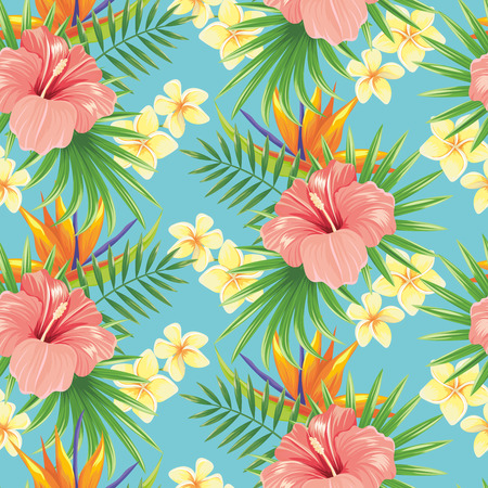 Illustration pour Flowers seamless pattern. Stylish spring flower, tropical plants leaves and floral ornamental tiles. Hawaiian tropic exotic hibiscus botanical wrapping vector background - image libre de droit
