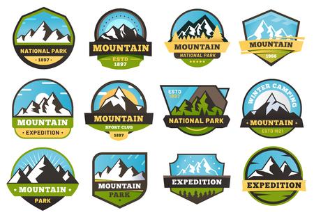 Illustration pour Mountain expedition emblems. Outdoors travel labels, mountains hiking sticker emblem and summer camping badges vector illustration set - image libre de droit