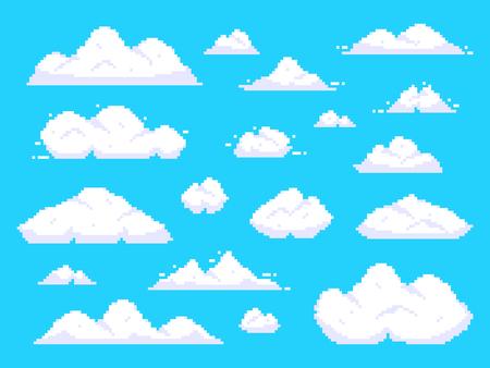 Illustration pour Pixel clouds. Retro 8 bit blue sky aerial cloud pixel art. Game sky clouds, pixilated aerial cloud animation scene. Background vector illustration isolated sign set - image libre de droit