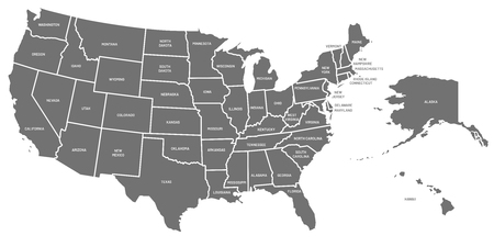 USA map. United States of America poster with state names ...