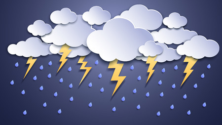 Illustration for Summer thunderstorms. Storm clouds, thunderstorm lightning and rainy weather. Thunder and lightnings craft paper, dangerous thunderbolt flash meteorology vector illustration - Royalty Free Image