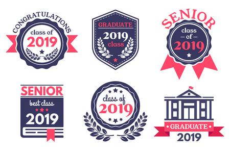 Illustration pour Graduate senior school badge. Graduation day emblem, graduates congratulations badges and education emblems. - image libre de droit