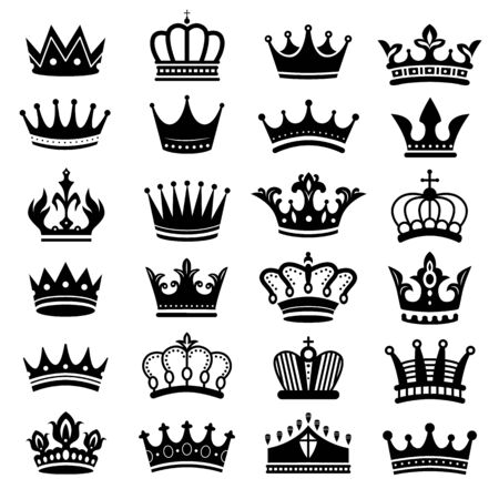 Illustration pour Royal crown silhouette. King crowns, majestic coronet and luxury tiara silhouettes. royal queens crown or princess jewelry heraldic hat insignia. Isolated vector symbols set - image libre de droit