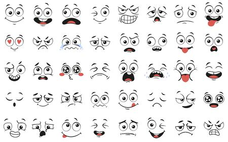 Illustration pour Cartoon faces. Expressive eyes and mouth, smiling, crying and surprised character face expressions. Caricature comic emotions or emoticon doodle. Isolated vector illustration icons set - image libre de droit