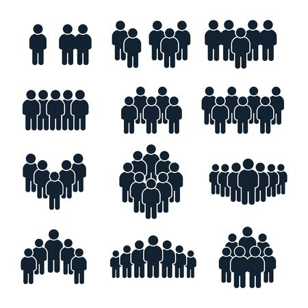 Illustration pour People group icon. Business person, team management and socializing persons silhouette icons. Leadership unity profile avatars, businessman community social site user isolated vector symbols set - image libre de droit