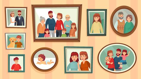 Illustration pour Cartoon family photo frames. Happy people portraits in wall picture frames, family portrait photos. Families generation framed portraits, dynasty photograph wall decor vector illustration - image libre de droit