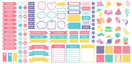 Illustration pour Cute planner stickers. Organizer tags, color patterns and calendar icons. Check, planners and weekly days label. Notebook stamps doodle, memo schedule sticker tag isolated vector symbols set - image libre de droit