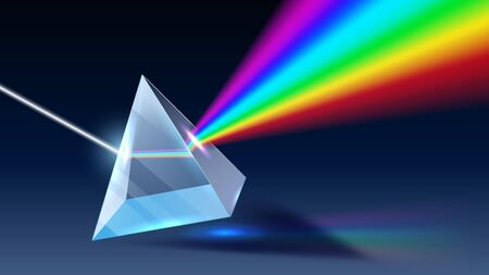 Illustration pour Realistic prism. Light dispersion, rainbow spectrum and optical effect. Physics optics ray refractions, pyramid prism reflecting realistic 3D vector illustration - image libre de droit
