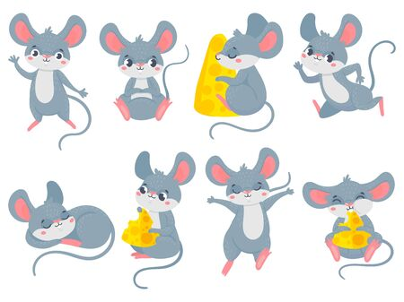 Illustration pour Cartoon mouse. Little cute mouses, funny small rodent pet and mice with cheese vector set. Collection of adorable friendly rats running, eating, sleeping. Bundle of happy domestic animals or pests. - image libre de droit