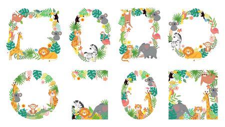 Ilustración de Cartoon animals frame. Jungle animal in tropical leaves, cute frames with tiger, lion, giraffe and elephant vector illustration set. Fauna forest frame, monkey, giraffe and elephant - Imagen libre de derechos