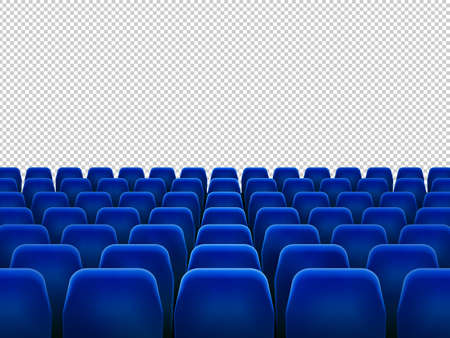 Illustration for Isolated blue armchairs for cinema, theatre or opera. Realistic row with chairs for watching movie, seats facing transparent background, movie hall with empty scene illustration - Royalty Free Image