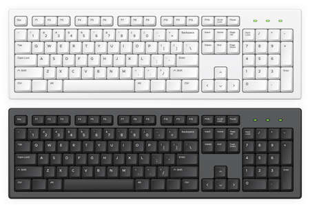 Illustration pour Keyboard. PC white and black key buttons with English  qwerty alphabet realistic illustration isolated template for device and desktop board. Light and dark abc buttons, equipment for typing on computer - image libre de droit
