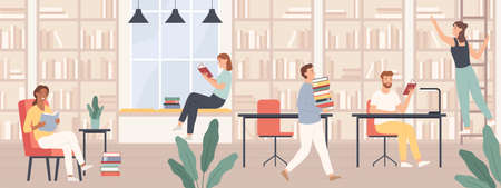Illustration pour People in library. Men and women read book, students study with books and gadgets in public library interior vector concept. Girl on ladder getting book, people at desks and chairs - image libre de droit