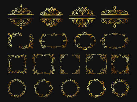 Illustration for Retro golden frames. Vintage gold borders and corners, classic ornament element. Photo frame, cover, wedding or certificate decor vector set - Royalty Free Image