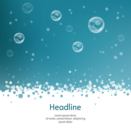 Bubbles with straw on blue background. Isolated. Vector illustration. 10 EPS