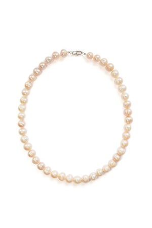 Pink pearl necklace isolated over white