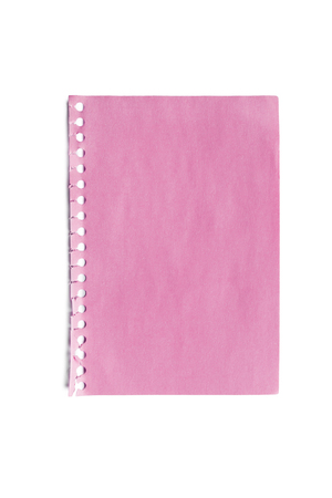 Blank sheet of pink paper isolated over white