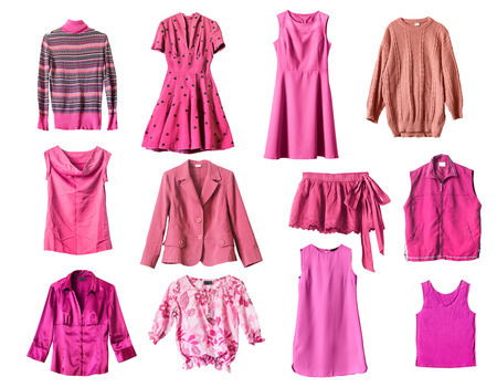 Set of pink clothes on white background