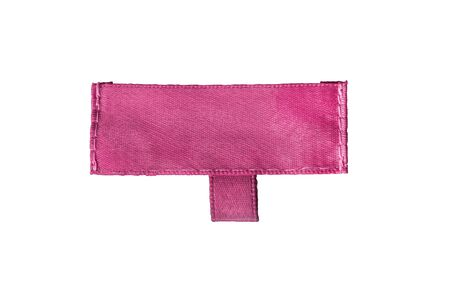 Blank pink clothes label on white background