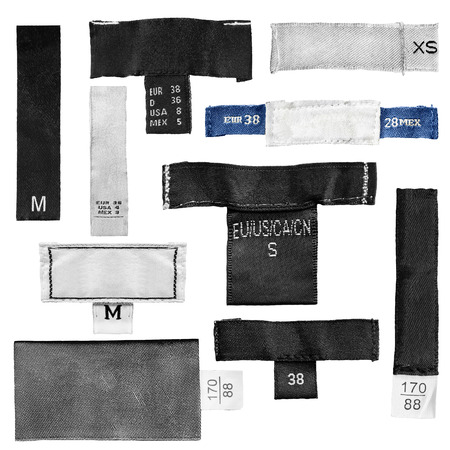 Set of blank clothes size labels on white background
