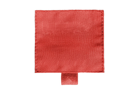 Blank red clothes label on white background