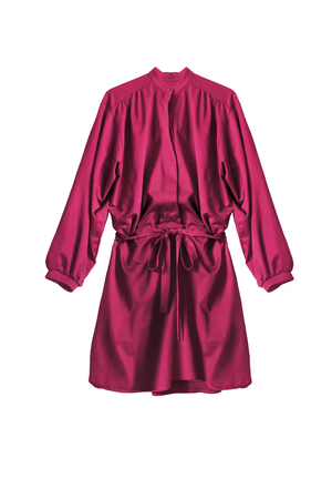 Photo pour Pink silk mini shirt dress isolated over white - image libre de droit