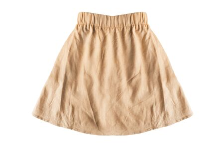 Photo pour Yellow flared mini skirt on white background - image libre de droit