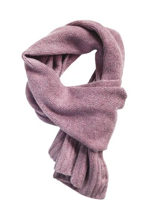 Photo pour Pink wool knitted tied scarf on white background - image libre de droit