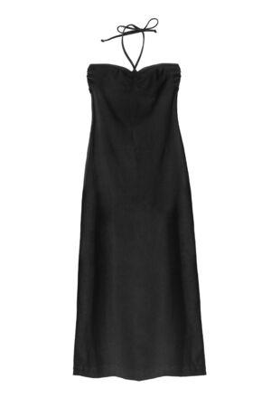 Photo pour Long black strapless halter dress on white background - image libre de droit