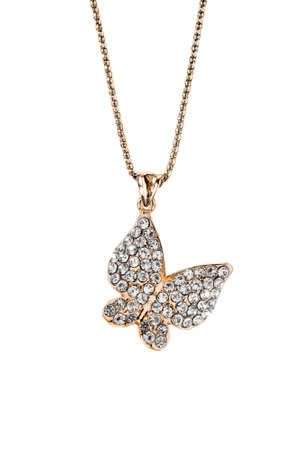 Photo for Gold diamond butterfly pendant hanging on a chain on white background - Royalty Free Image