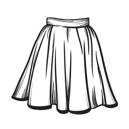 Stylish skirt model hand drawn vector illustration black lines