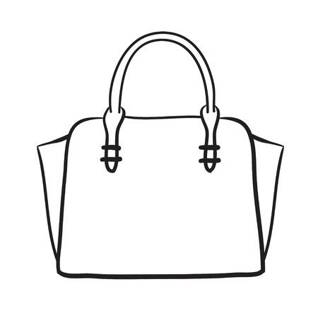 Illustration pour Woman bag hand drawn, female stylish purse vector fashion illustration black lines - image libre de droit