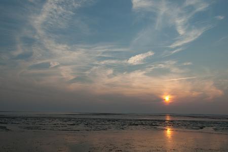 Waddensea tidal flats wetlands at sunset, Northern Germany