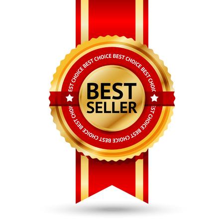 Illustration pour Premium golden and red Best Seller label with  Best choice  text around it  - image libre de droit