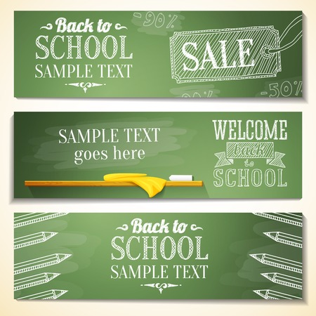 Set of school banners with sample text place for your message  vectorのイラスト素材